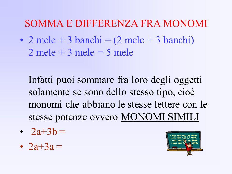 SOMMA E DIFFERENZA FRA MONOMI