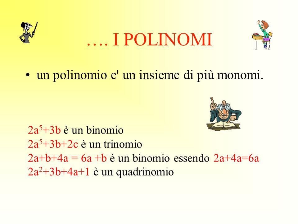 …. I POLINOMI un polinomio e un insieme di più monomi.