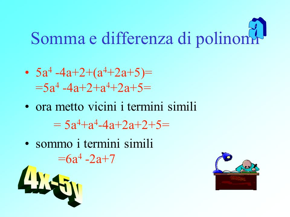 Somma e differenza di polinomi