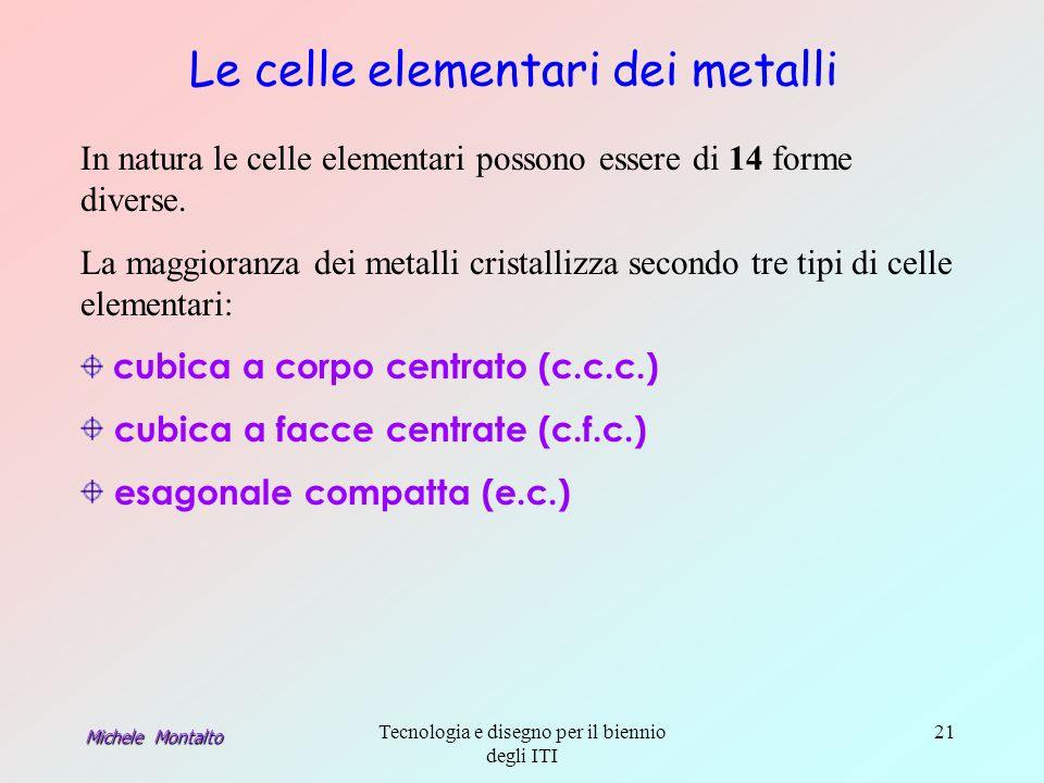 Le celle elementari dei metalli