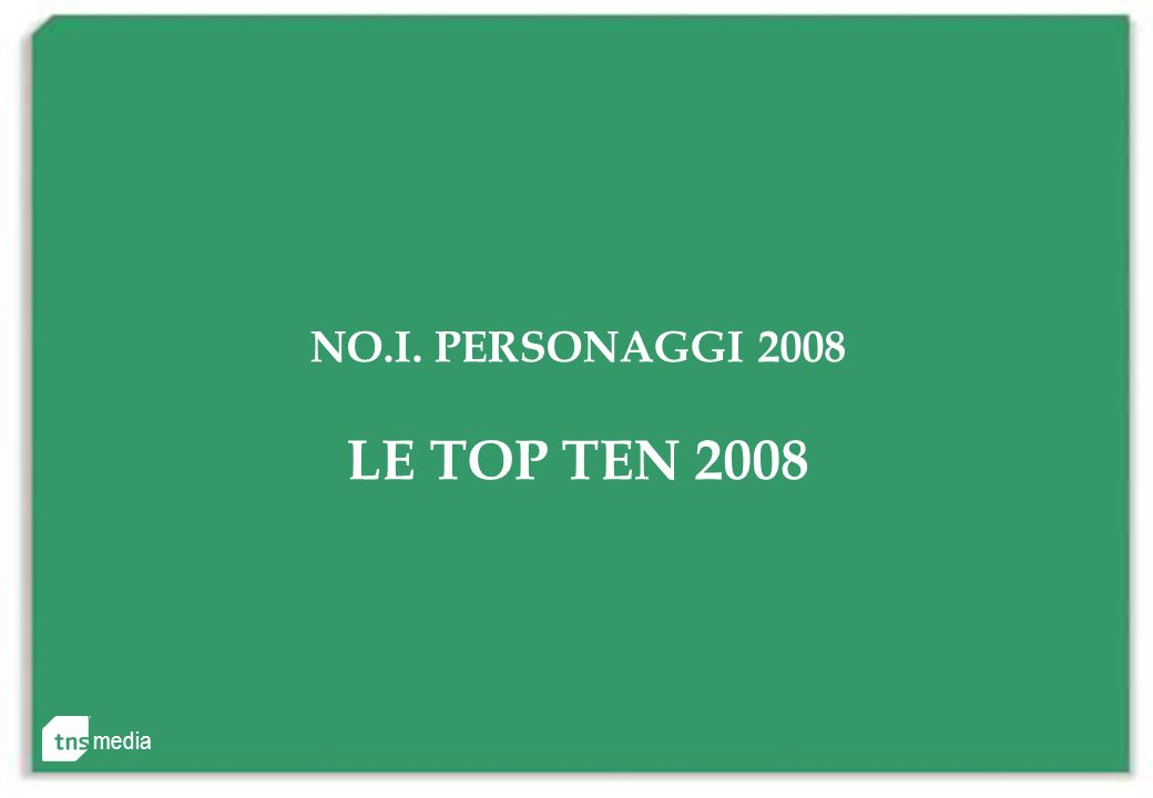 NO.I. PERSONAGGI 2008 LE TOP TEN 2008