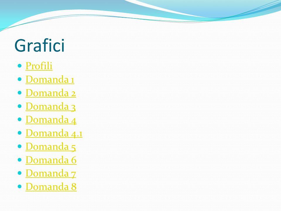 Grafici Profili Domanda 1 Domanda 2 Domanda 3 Domanda 4 Domanda 4.1