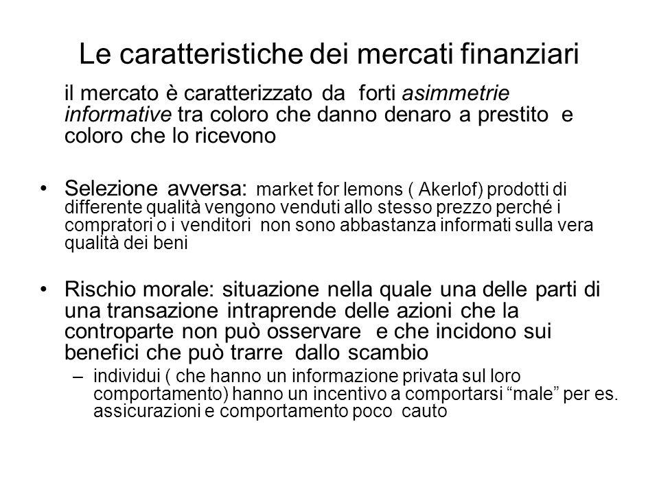 Le caratteristiche dei mercati finanziari