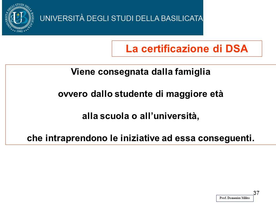 La certificazione di DSA