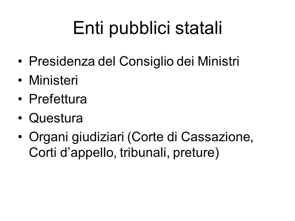 Enti pubblici statali Presidenza del Consiglio dei Ministri Ministeri