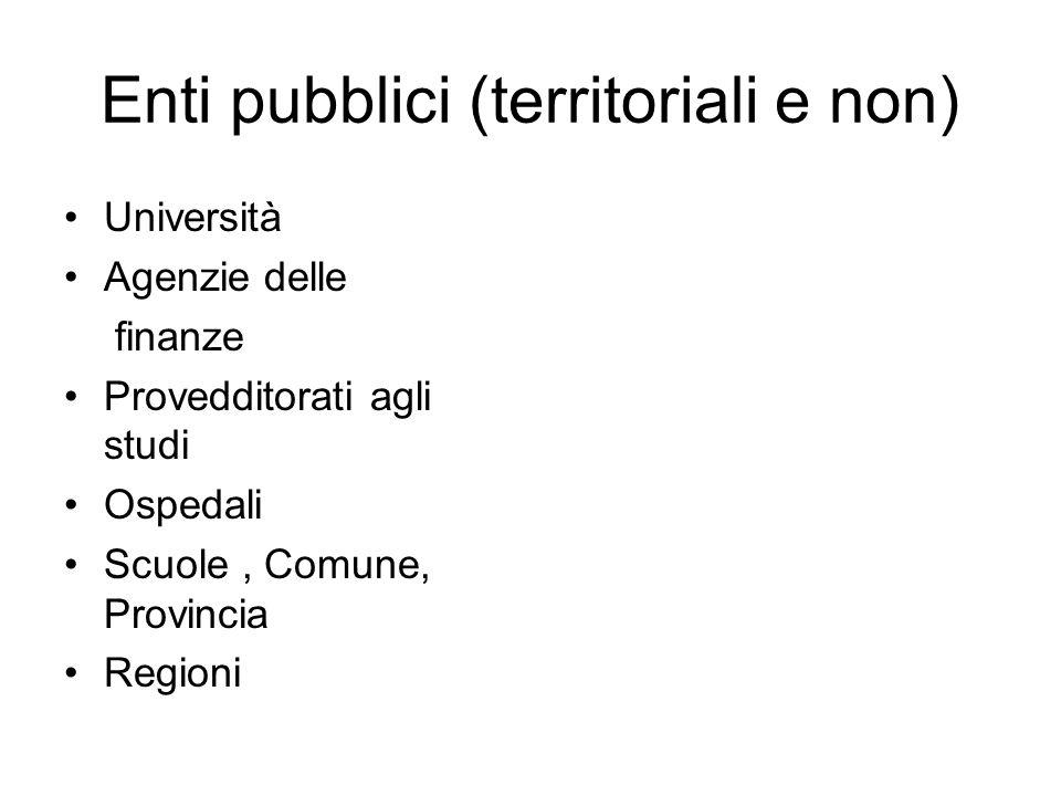 Enti pubblici (territoriali e non)