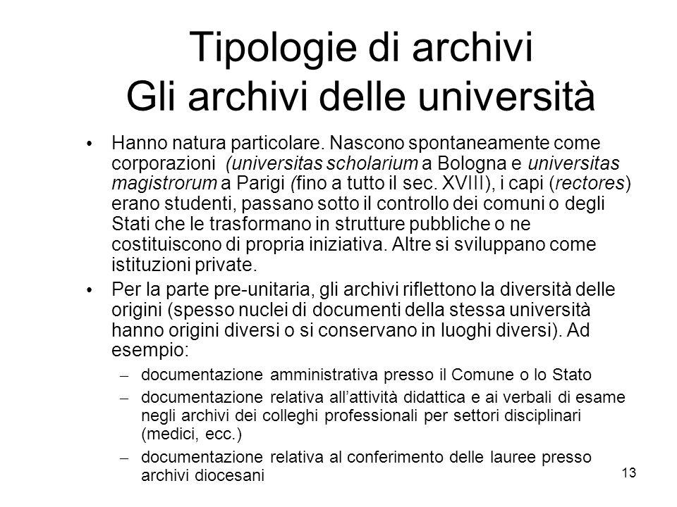 Tipologie di archivi Gli archivi delle università