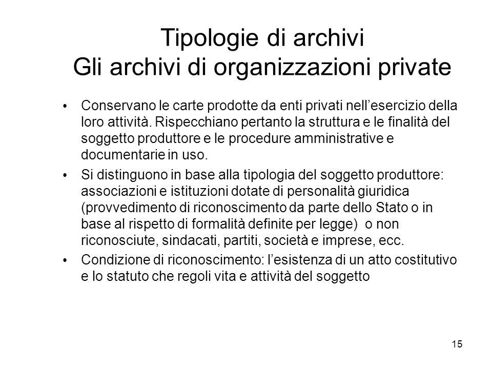 Tipologie di archivi Gli archivi di organizzazioni private