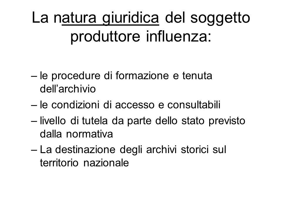 La natura giuridica del soggetto produttore influenza: