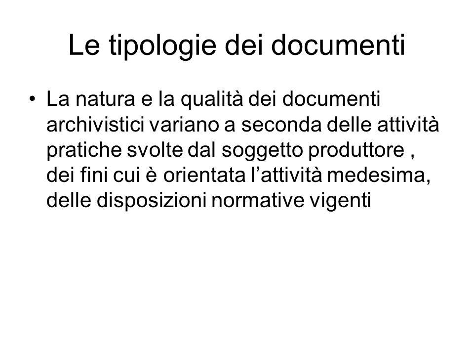 Le tipologie dei documenti