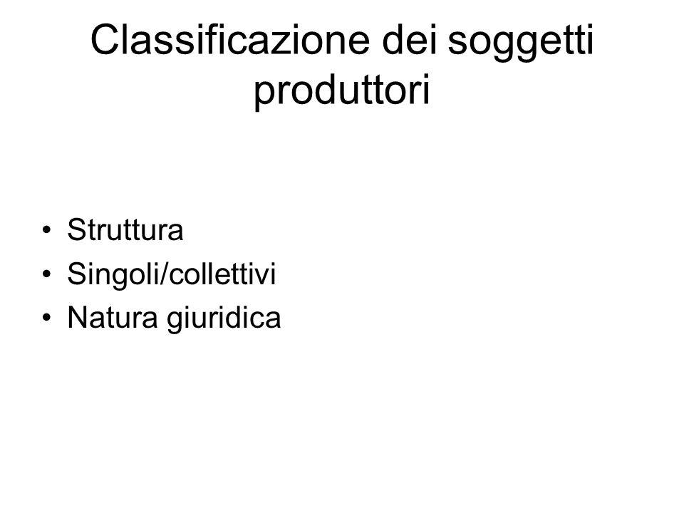 Classificazione dei soggetti produttori
