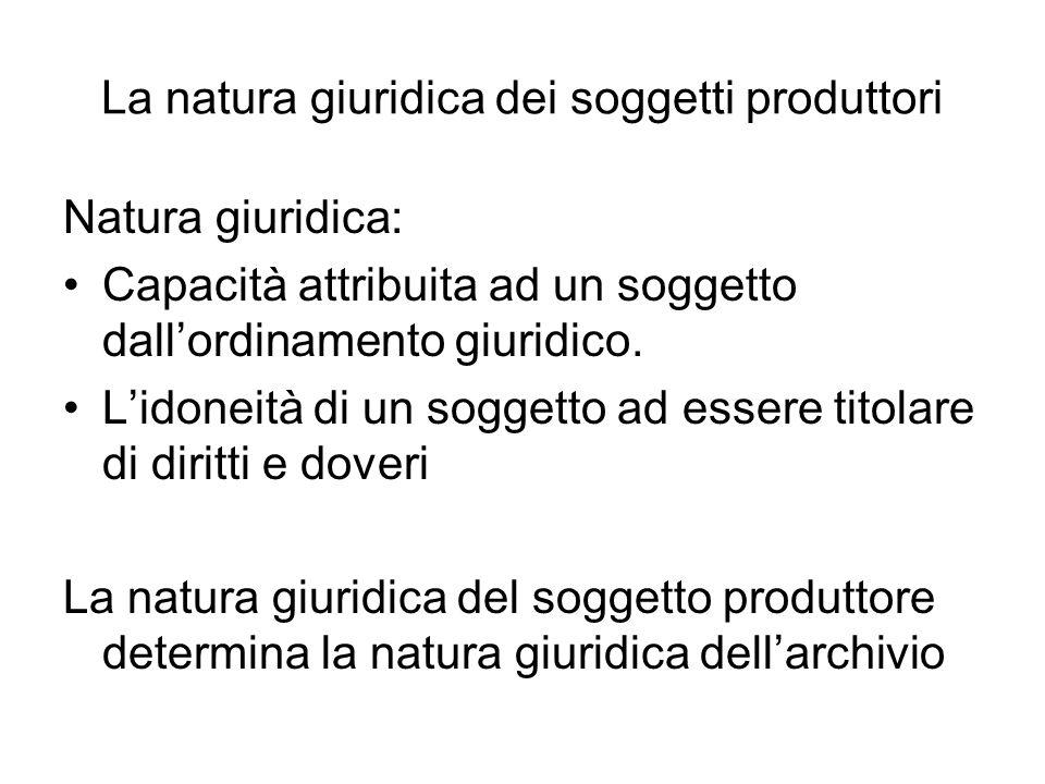 La natura giuridica dei soggetti produttori