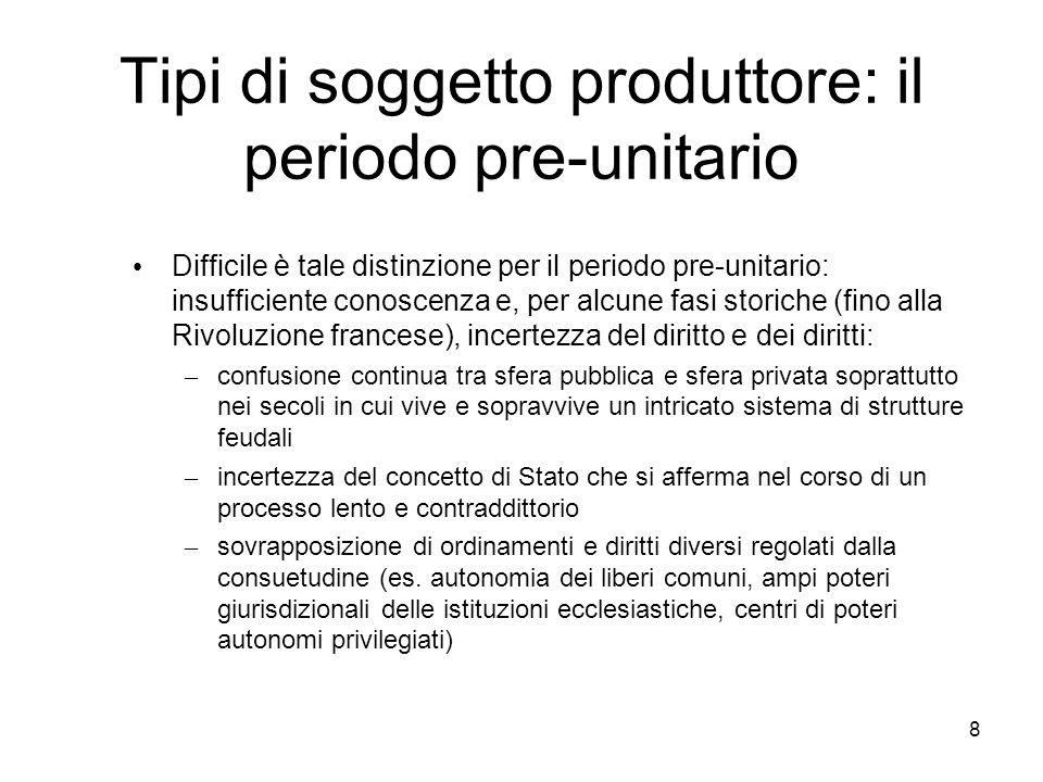 Tipi di soggetto produttore: il periodo pre-unitario