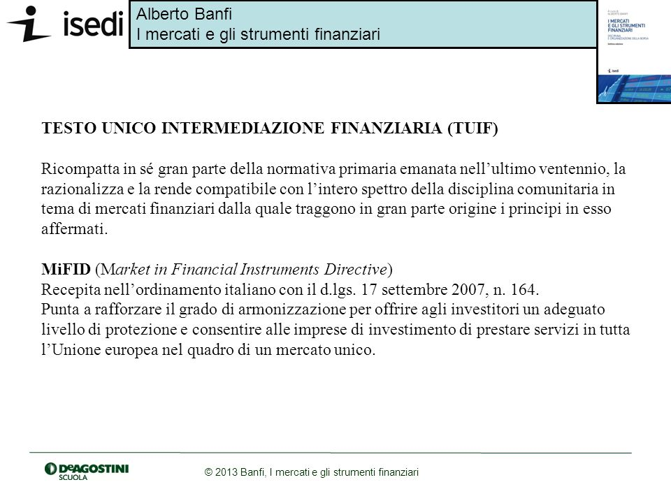 TESTO UNICO INTERMEDIAZIONE FINANZIARIA (TUIF)