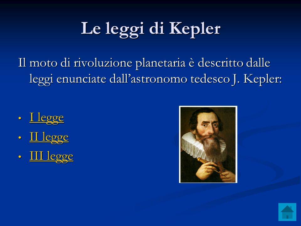 Le leggi di Kepler Il moto di rivoluzione planetaria è descritto dalle leggi enunciate dall'astronomo tedesco J. Kepler: