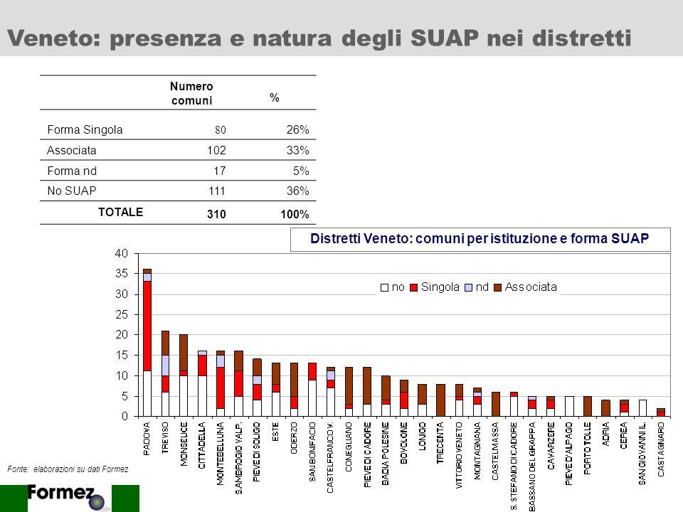 Distretti Veneto: comuni per istituzione e forma SUAP