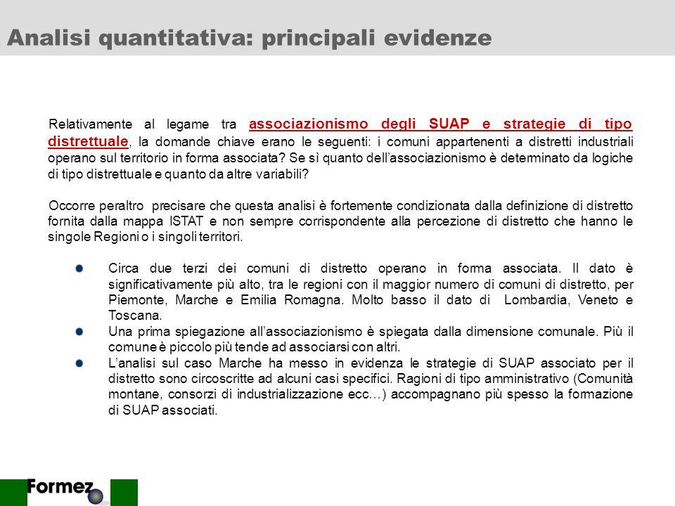 Analisi quantitativa: principali evidenze