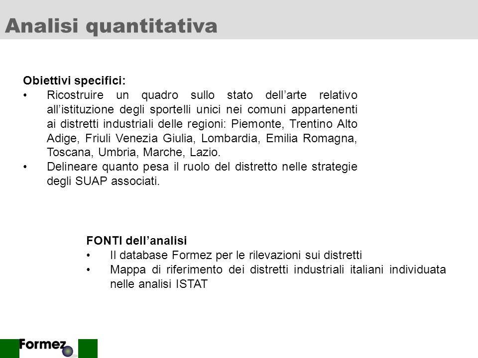 Analisi quantitativa Obiettivi specifici: