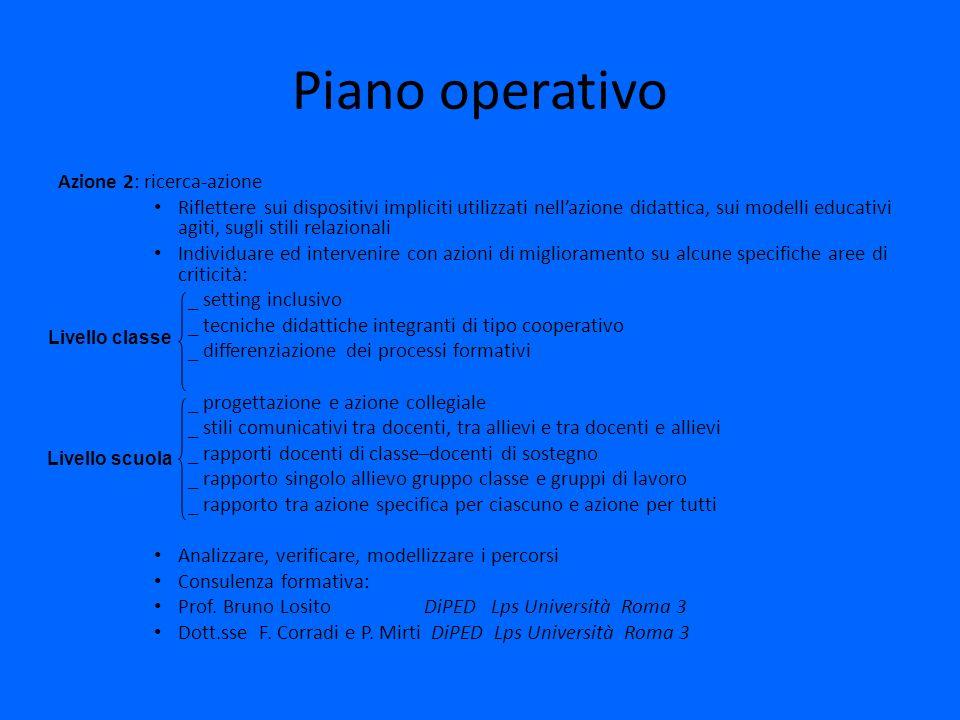 Piano operativo Azione 2: ricerca-azione