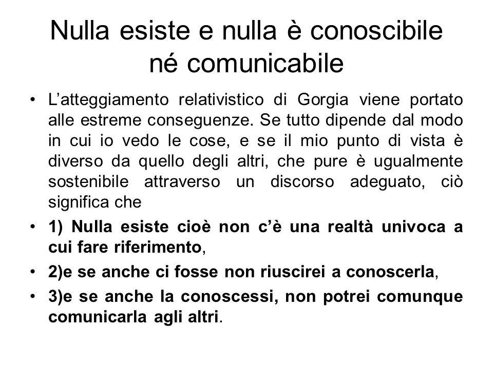 Nulla esiste e nulla è conoscibile né comunicabile