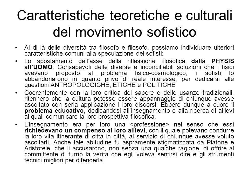 Caratteristiche teoretiche e culturali del movimento sofistico
