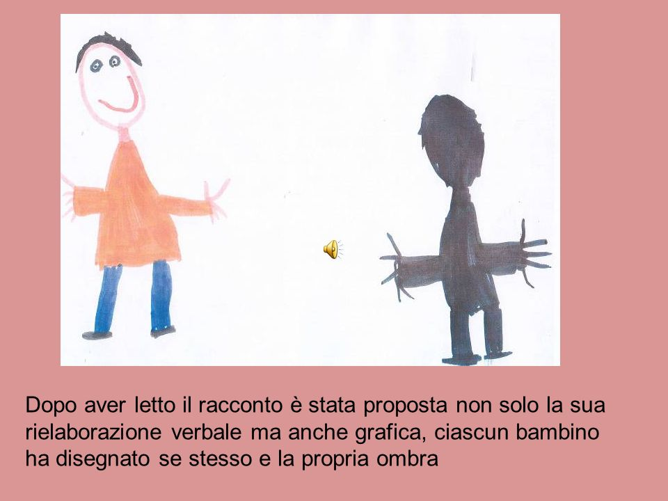 Dopo aver letto il racconto è stata proposta non solo la sua rielaborazione verbale ma anche grafica, ciascun bambino ha disegnato se stesso e la propria ombra