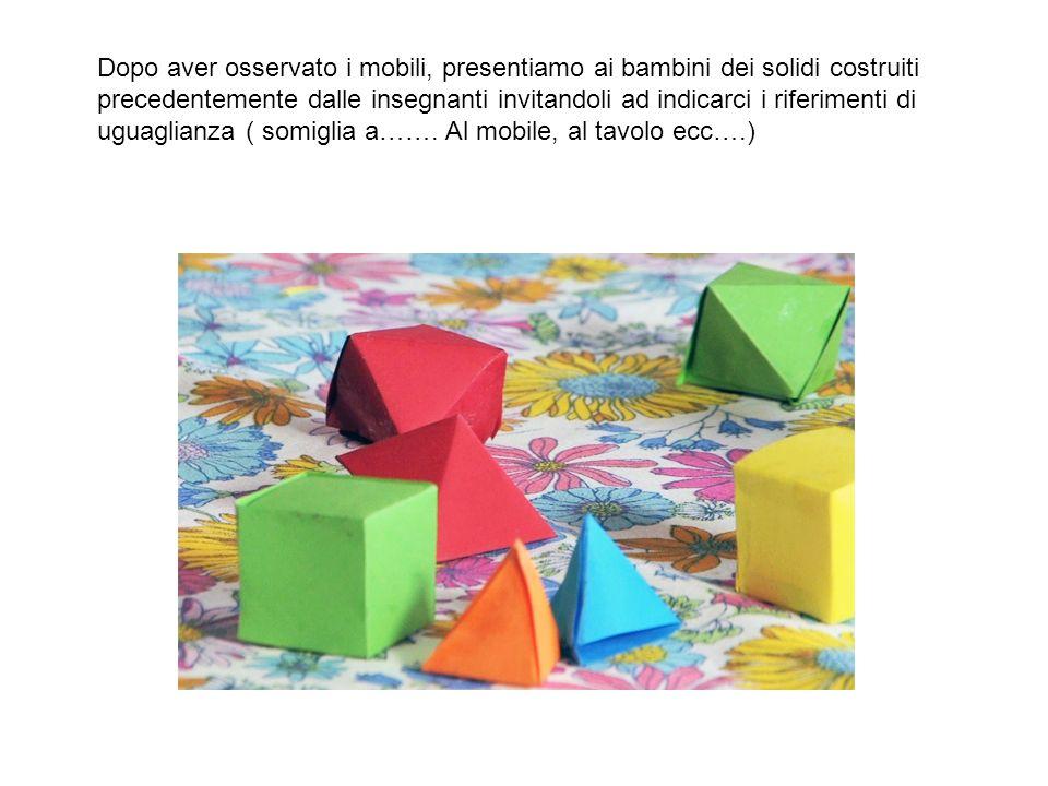 Dopo aver osservato i mobili, presentiamo ai bambini dei solidi costruiti precedentemente dalle insegnanti invitandoli ad indicarci i riferimenti di uguaglianza ( somiglia a…….