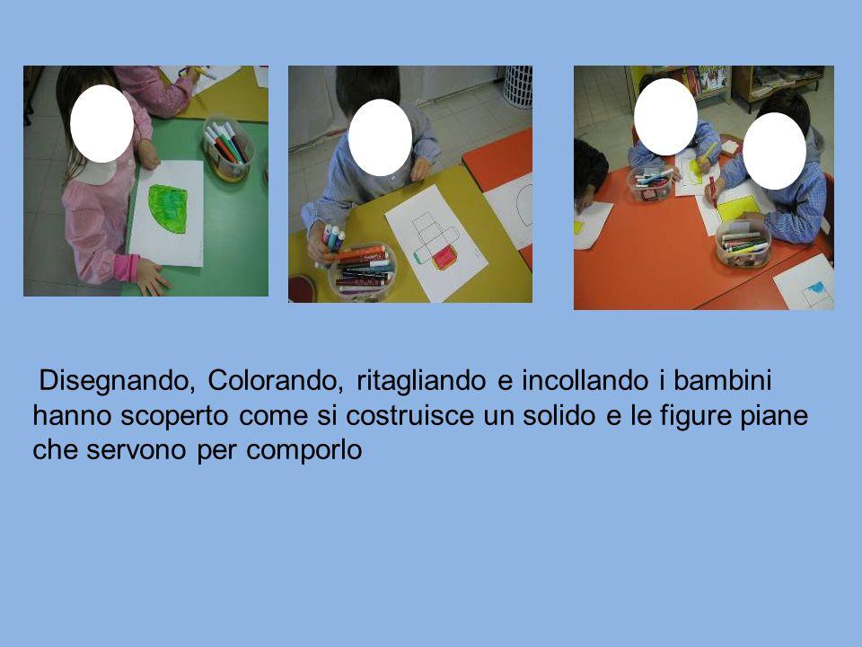 Disegnando, Colorando, ritagliando e incollando i bambini hanno scoperto come si costruisce un solido e le figure piane che servono per comporlo