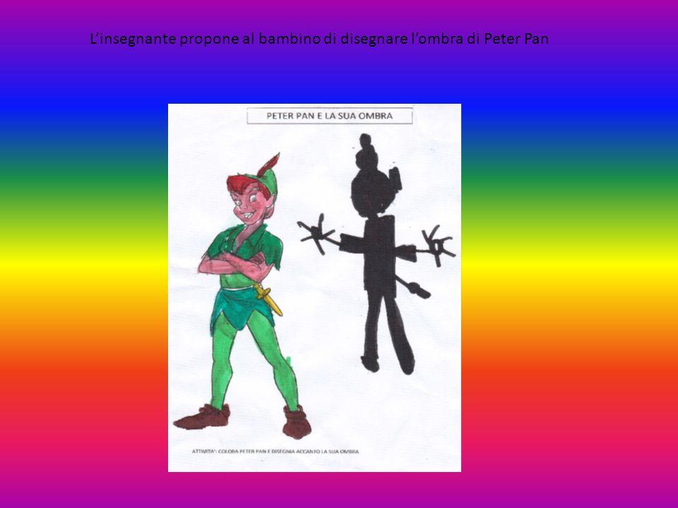 L'insegnante propone al bambino di disegnare l'ombra di Peter Pan