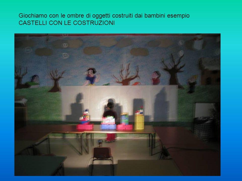 Giochiamo con le ombre di oggetti costruiti dai bambini esempio CASTELLI CON LE COSTRUZIONI