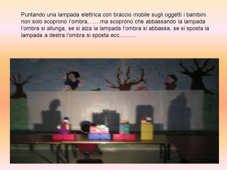 Puntando una lampada elettrica con braccio mobile sugli oggetti i bambini non solo scoprono l'ombra,……ma scoprono che abbassando la lampada l'ombra si allunga, se si alza la lampada l'ombra si abbassa, se si sposta la lampada a destra l'ombra si sposta ecc………