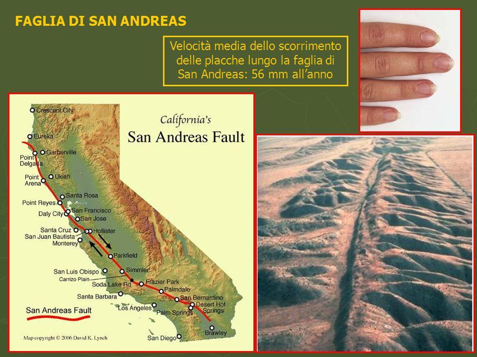 FAGLIA DI SAN ANDREASVelocità media dello scorrimento delle placche lungo la faglia di San Andreas: 56 mm all'anno.
