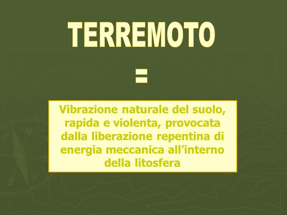 TERREMOTO= Vibrazione naturale del suolo, rapida e violenta, provocata dalla liberazione repentina di energia meccanica all'interno della litosfera.