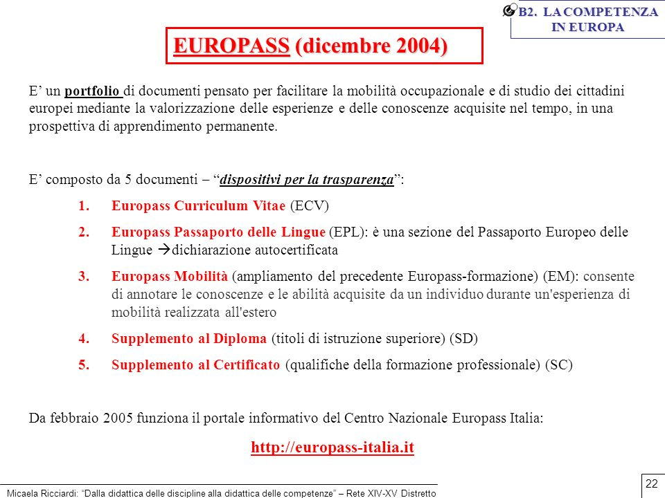 B2. LA COMPETENZA IN EUROPA