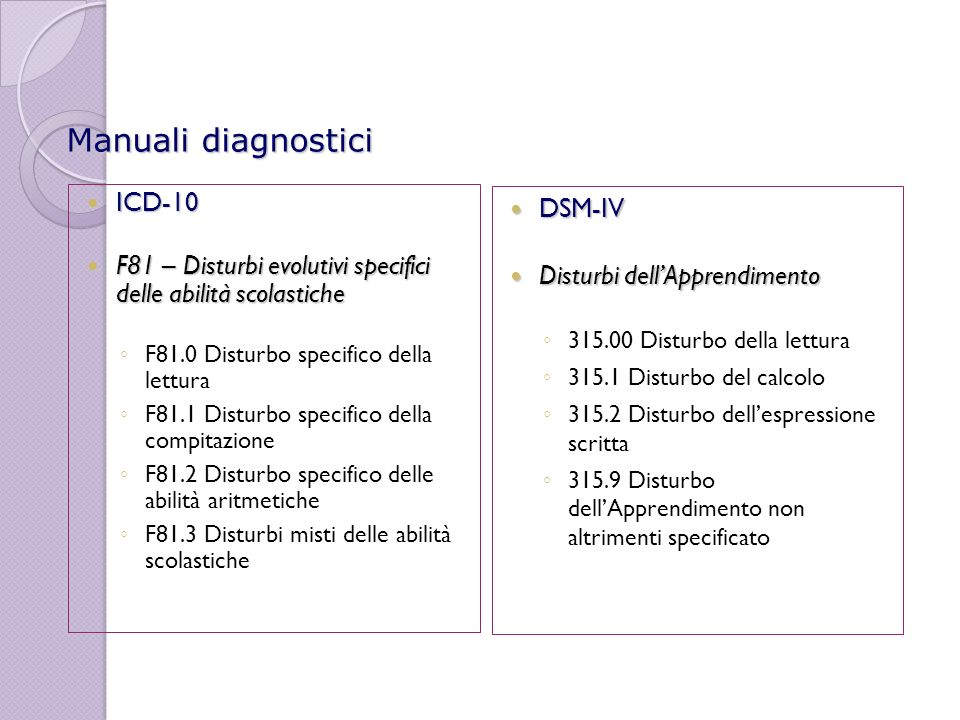 Manuali diagnostici ICD-10 DSM-IV