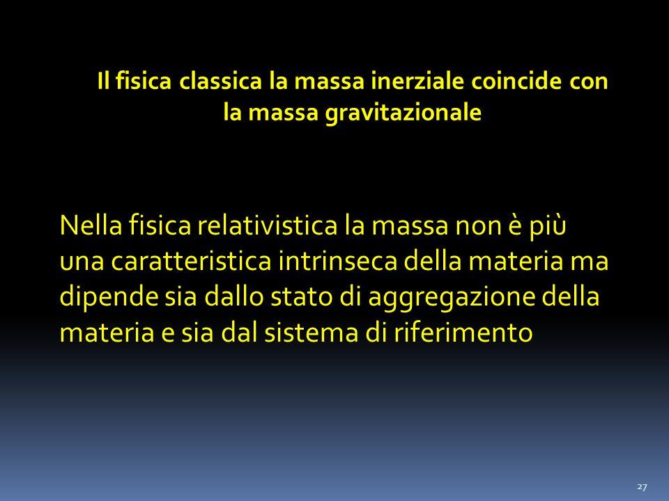 Il fisica classica la massa inerziale coincide con la massa gravitazionale