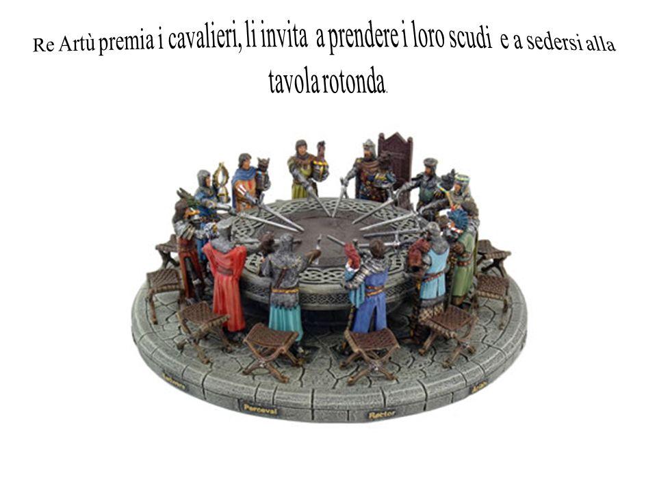 Re Artù premia i cavalieri, li invita a prendere i loro scudi e a sedersi alla tavola rotonda.