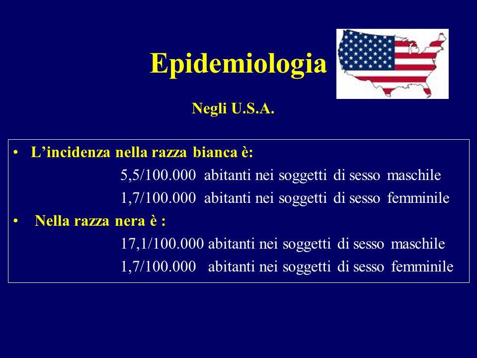 Epidemiologia Negli U.S.A. L'incidenza nella razza bianca è: