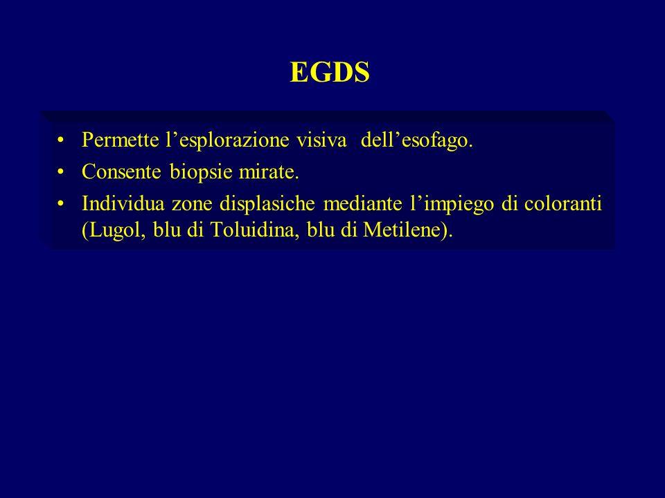 EGDS Permette l'esplorazione visiva dell'esofago.