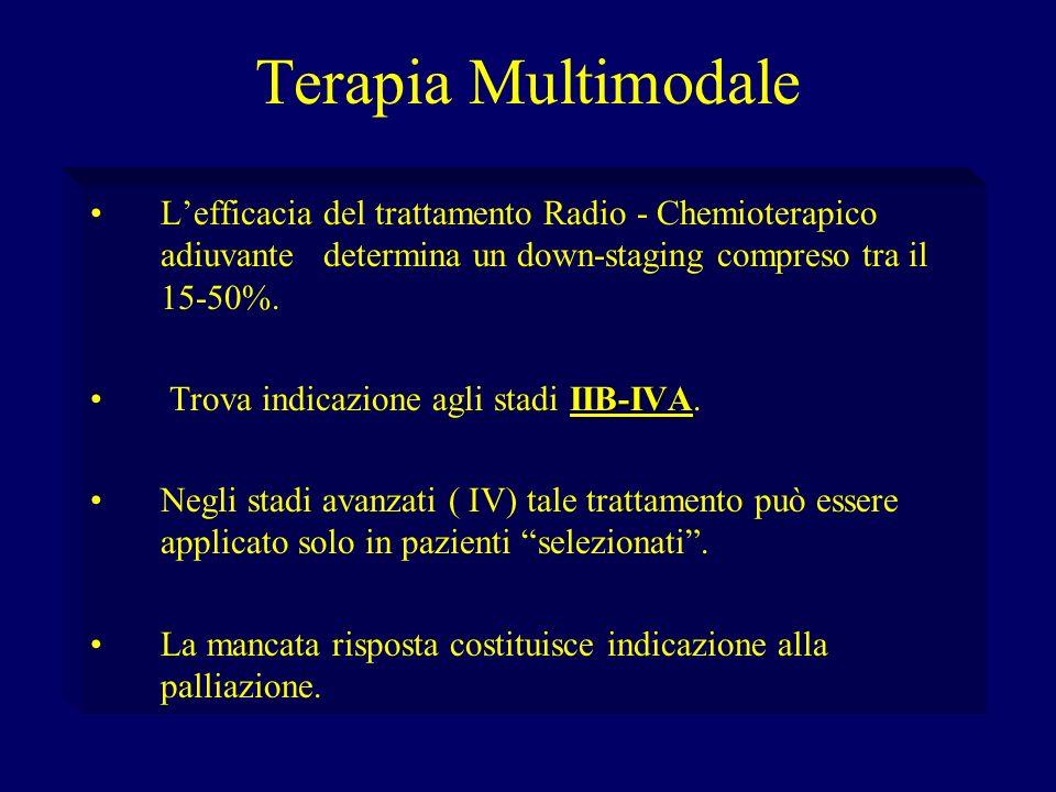 Terapia MultimodaleL'efficacia del trattamento Radio - Chemioterapico adiuvante determina un down-staging compreso tra il 15-50%.