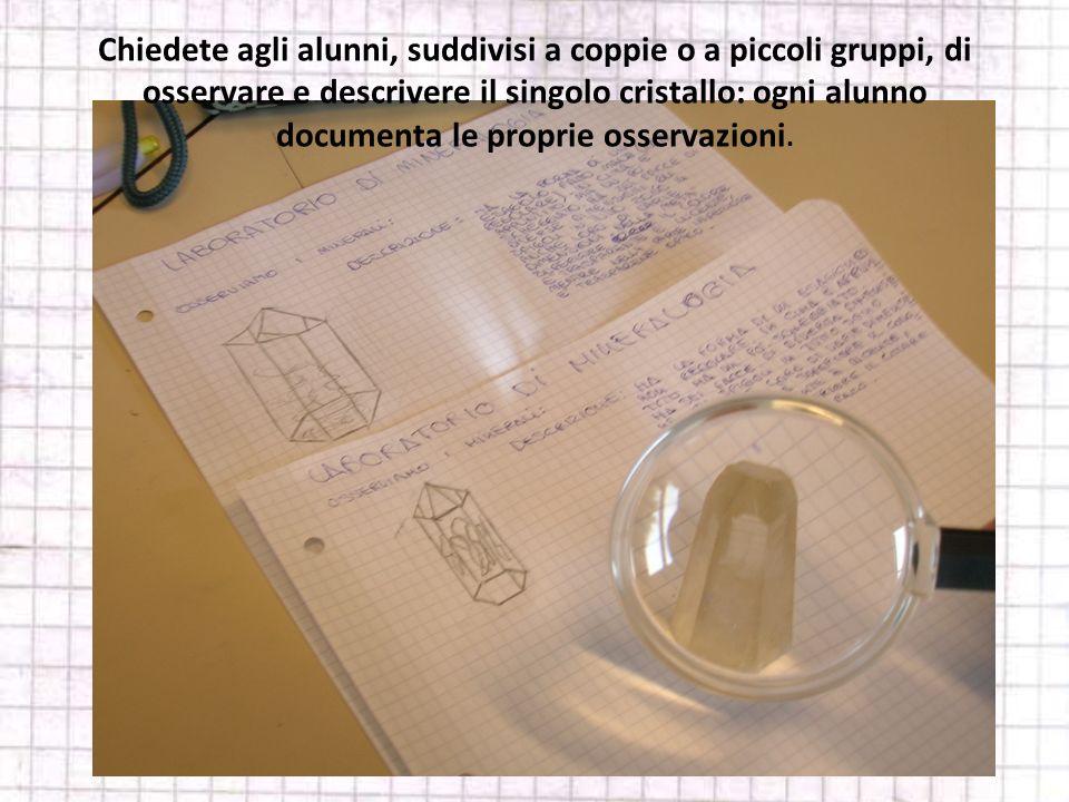 Chiedete agli alunni, suddivisi a coppie o a piccoli gruppi, di osservare e descrivere il singolo cristallo: ogni alunno documenta le proprie osservazioni.