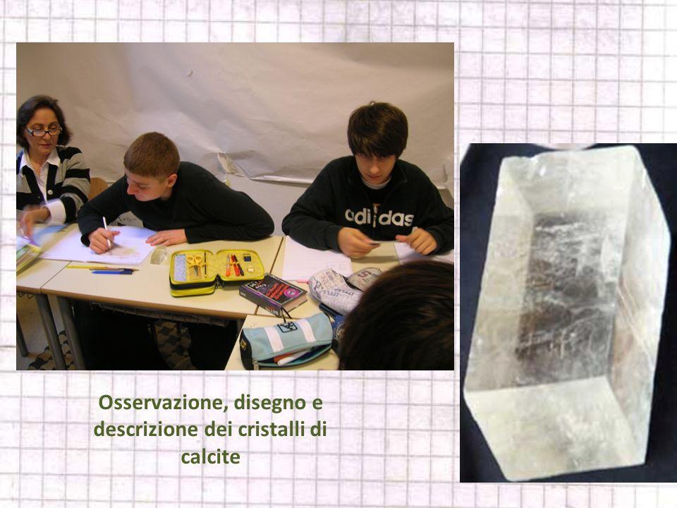 Osservazione, disegno e descrizione dei cristalli di calcite