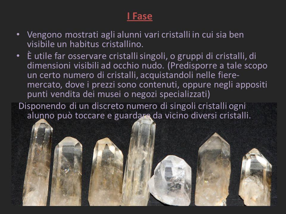 I Fase Vengono mostrati agli alunni vari cristalli in cui sia ben visibile un habitus cristallino.