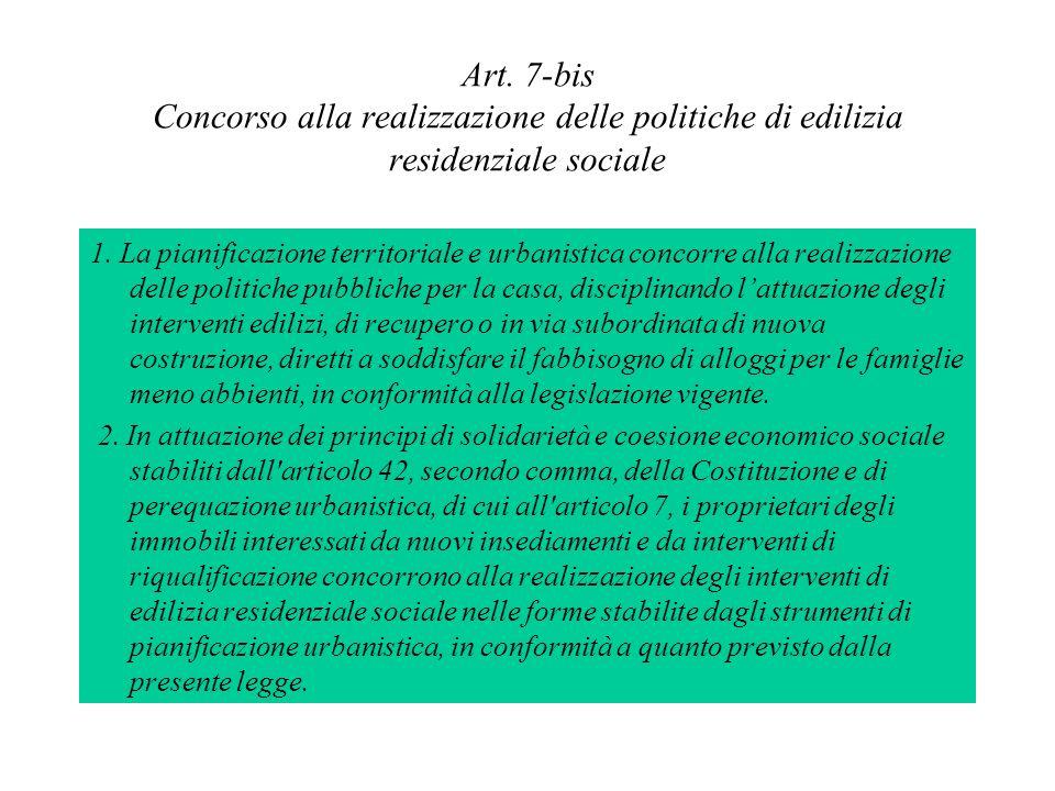 Art. 7-bis Concorso alla realizzazione delle politiche di edilizia residenziale sociale