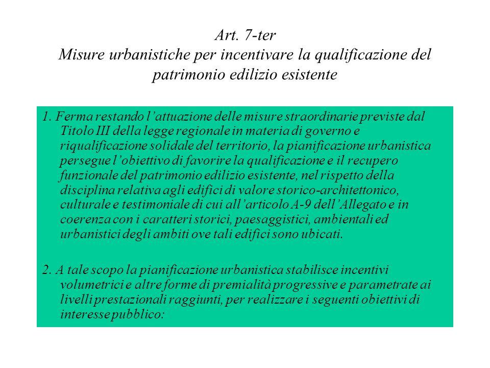 Art. 7-ter Misure urbanistiche per incentivare la qualificazione del patrimonio edilizio esistente