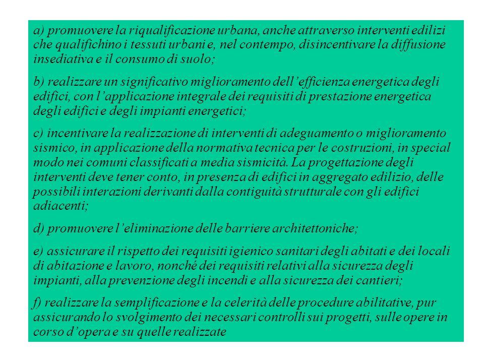 a) promuovere la riqualificazione urbana, anche attraverso interventi edilizi che qualifichino i tessuti urbani e, nel contempo, disincentivare la diffusione insediativa e il consumo di suolo;