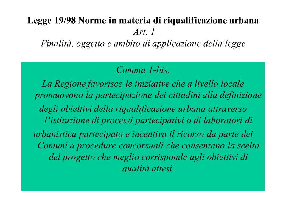 Legge 19/98 Norme in materia di riqualificazione urbana Art