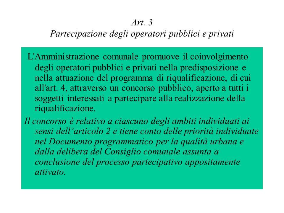 Art. 3 Partecipazione degli operatori pubblici e privati