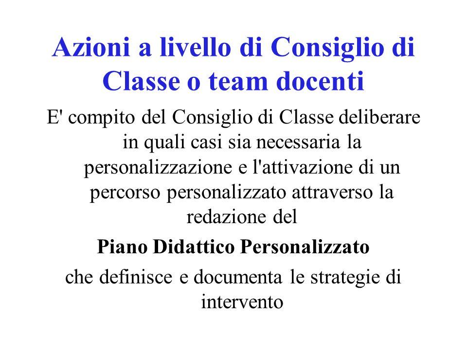 Azioni a livello di Consiglio di Classe o team docenti
