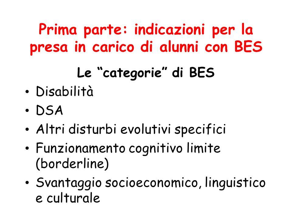 Prima parte: indicazioni per la presa in carico di alunni con BES